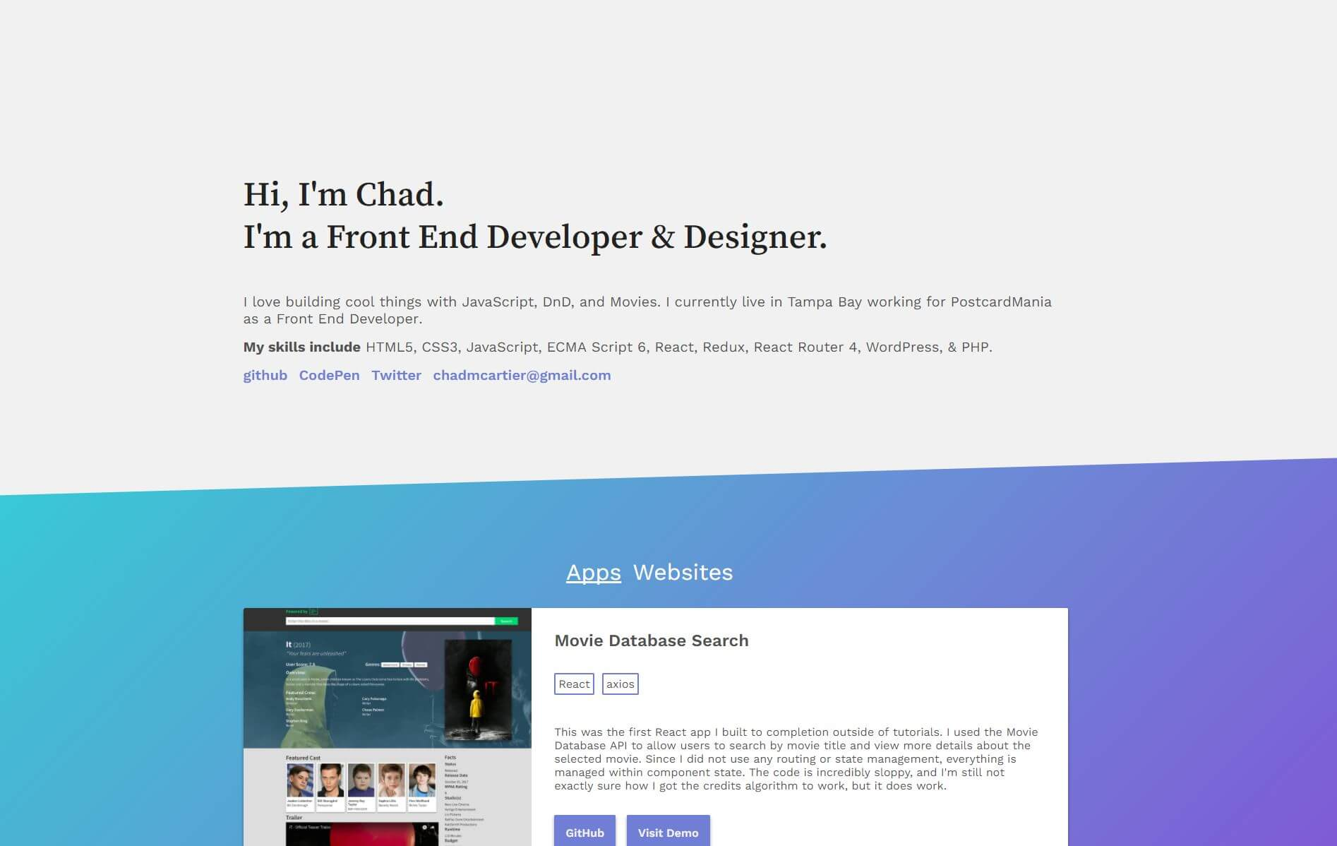 Front End Web Developer   Tampa Bay   Chad Cartier